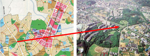 Left:Land use map, Right:After implementation of urban development